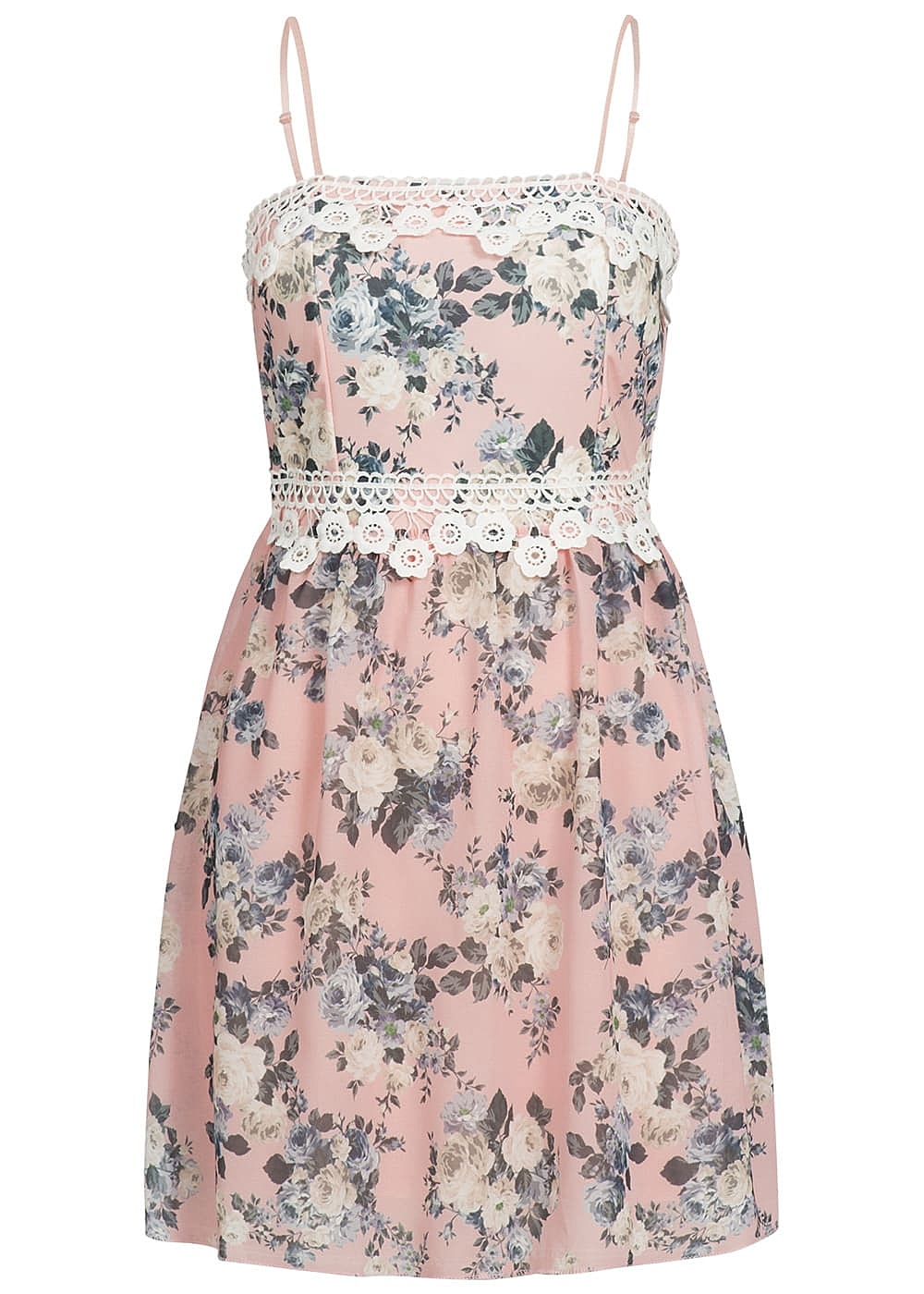 Styleboom Fashion Kleid Spitze Blumen Muster rosa - 19onlineshop
