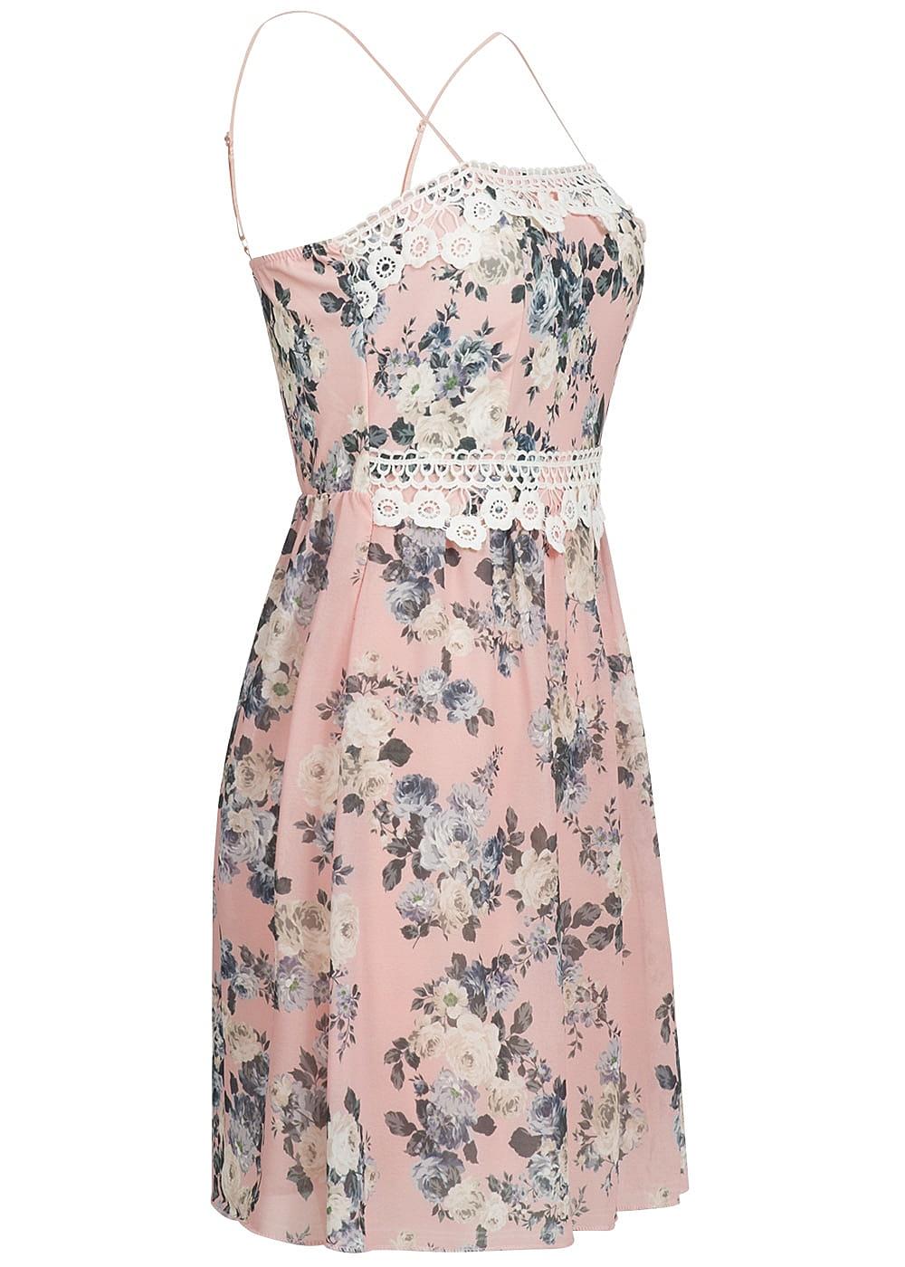 Styleboom Fashion Kleid Spitze Blumen Muster rosa