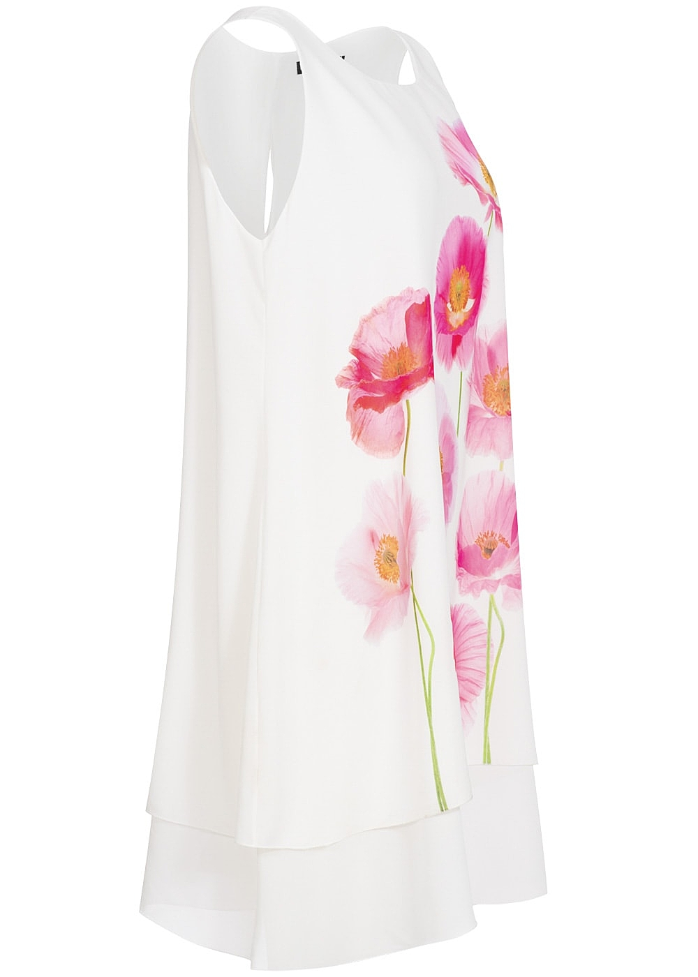 styleboom fashion damen kleid blumen print weiss rosa 77onlineshop. Black Bedroom Furniture Sets. Home Design Ideas