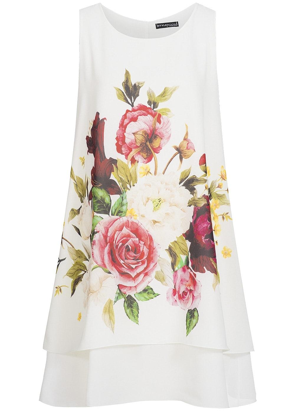 Styleboom Fashion Damen Kleid Blumen Print Weiss Rot Weiss