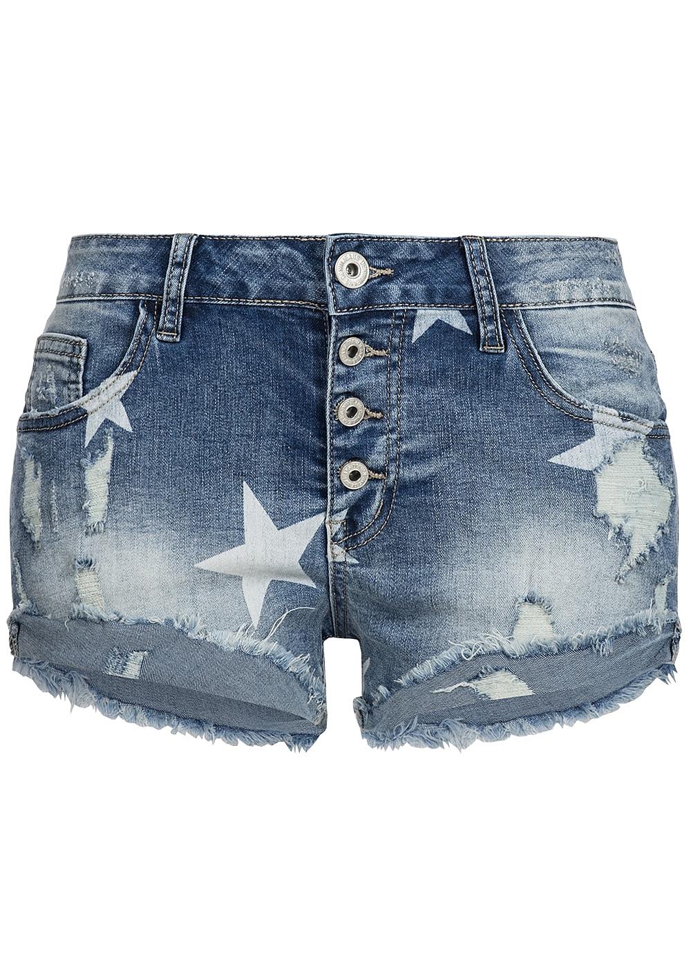 518f9f899ebce9 hailys damen jeans short sternen muster destroy look blue denim 77onlineshop