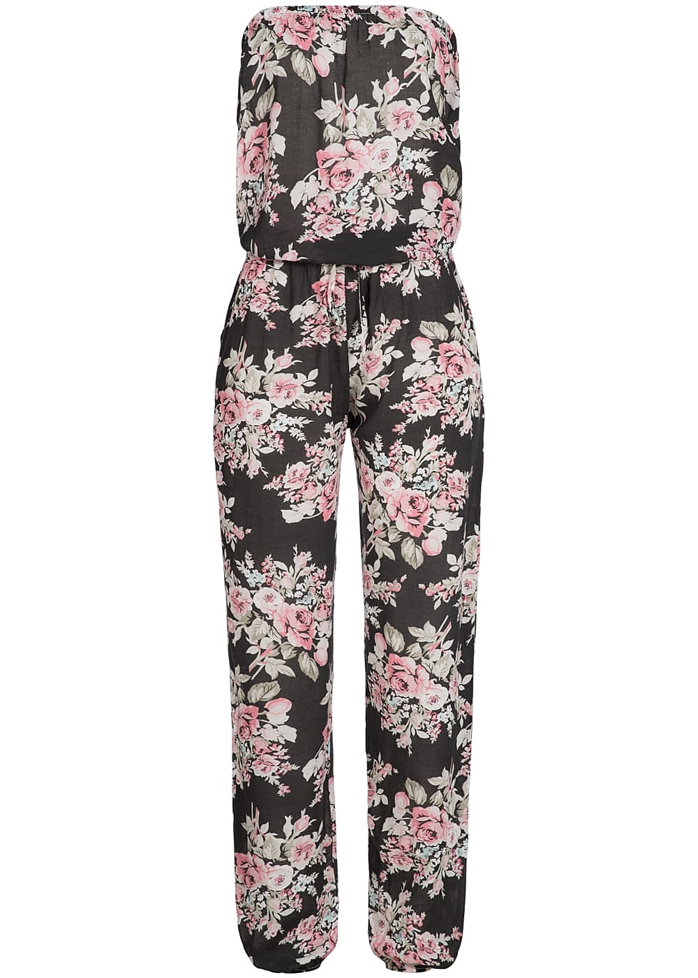 styleboom fashion bandeau jumpsuit blumen muster tunnelzug schwarz rosa 77onlineshop. Black Bedroom Furniture Sets. Home Design Ideas