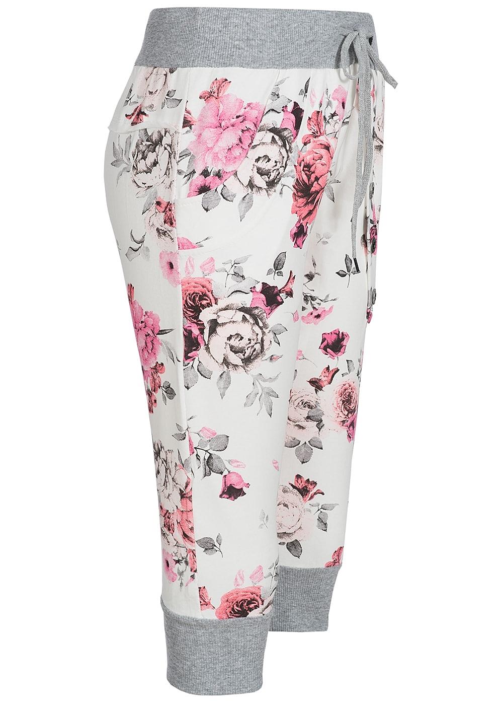 styleboom fashion damen capri sweat short blumen muster weiss rosa pink 77onlineshop. Black Bedroom Furniture Sets. Home Design Ideas