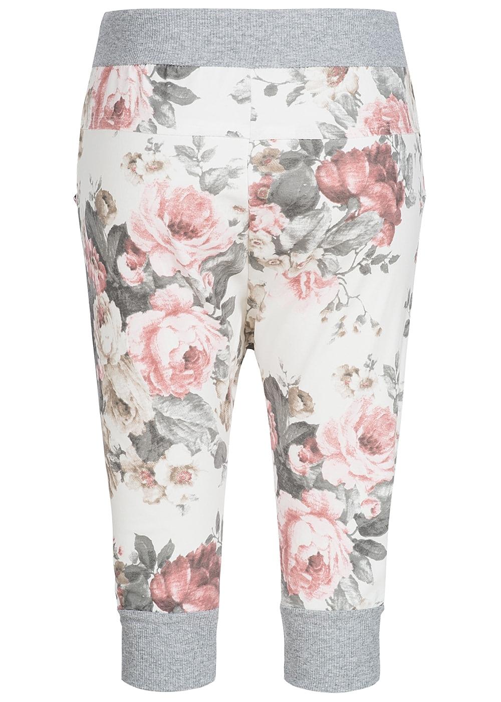 styleboom fashion damen capri sweat short blumen muster weiss rosa braun 77onlineshop. Black Bedroom Furniture Sets. Home Design Ideas