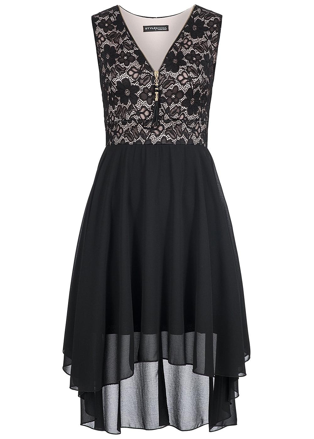 Styleboom Fashion Damen Kleid Vokuhila Zipper Spitze schwarz rosa ...