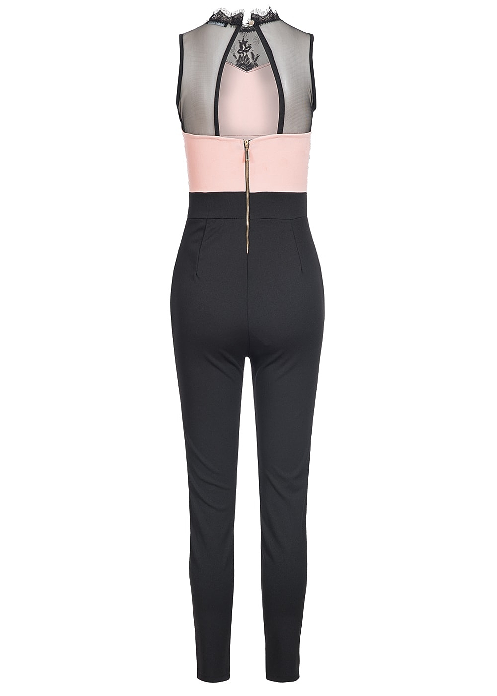 styleboom fashion damen long jumpsuit spitze schwarz rosa 77onlineshop. Black Bedroom Furniture Sets. Home Design Ideas