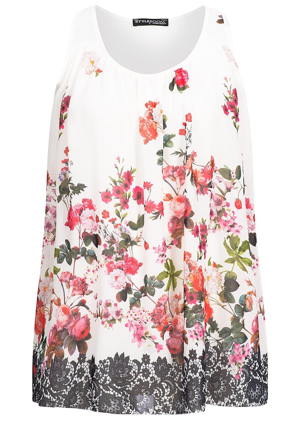 Styleboom Fashion Damen Chiffon Top Blumen Muster Weiss Rot