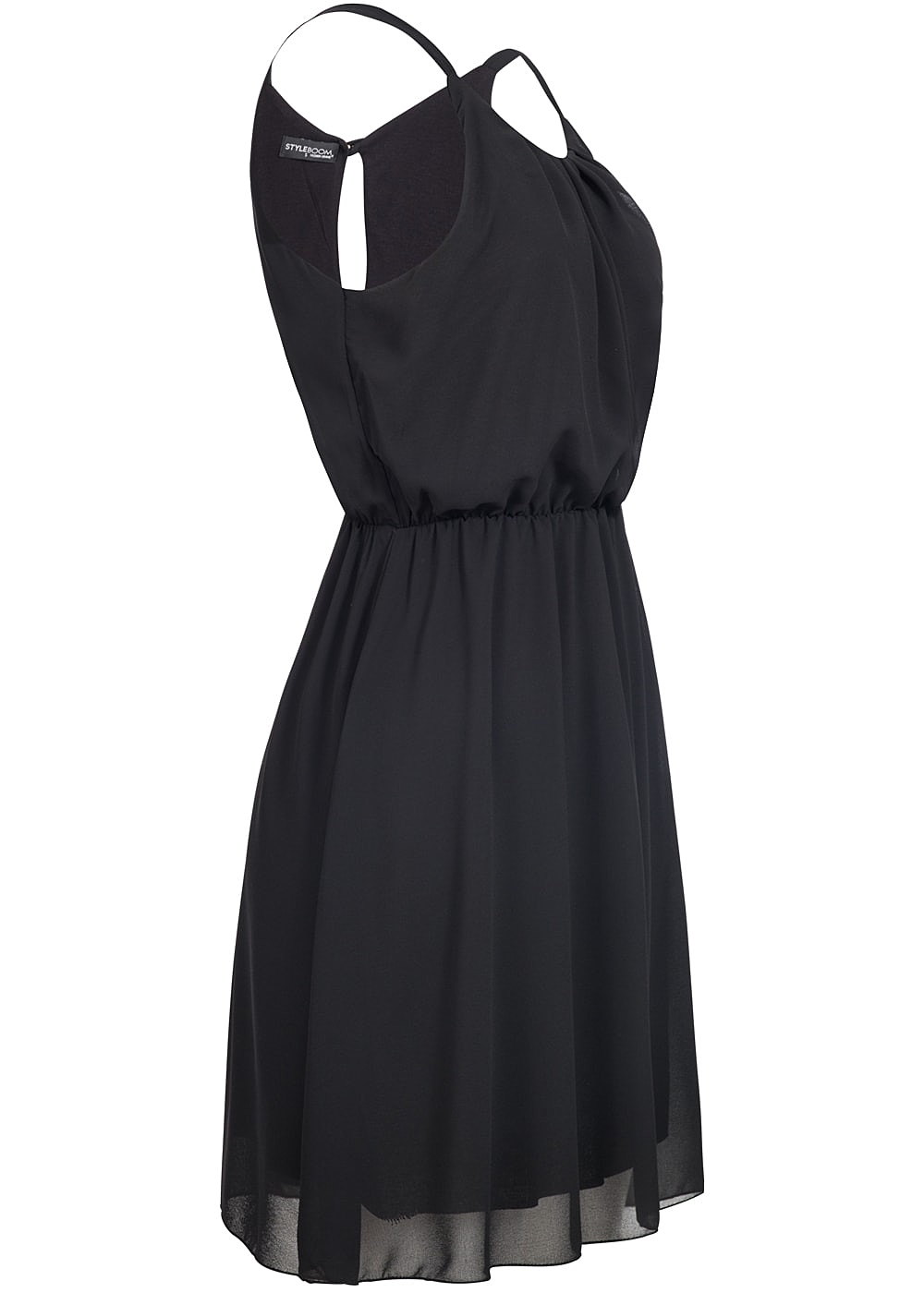 styleboom fashion damen chiffon kleid 2 lagig schwarz 77onlineshop. Black Bedroom Furniture Sets. Home Design Ideas