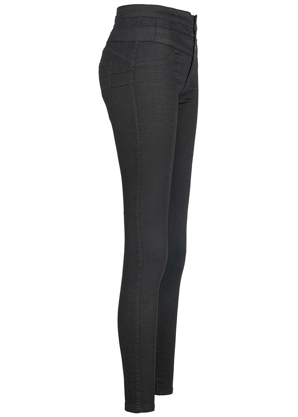 hailys damen jeans hose 3er knopfleiste high waist 2 taschen hinten schwarz 77onlineshop. Black Bedroom Furniture Sets. Home Design Ideas