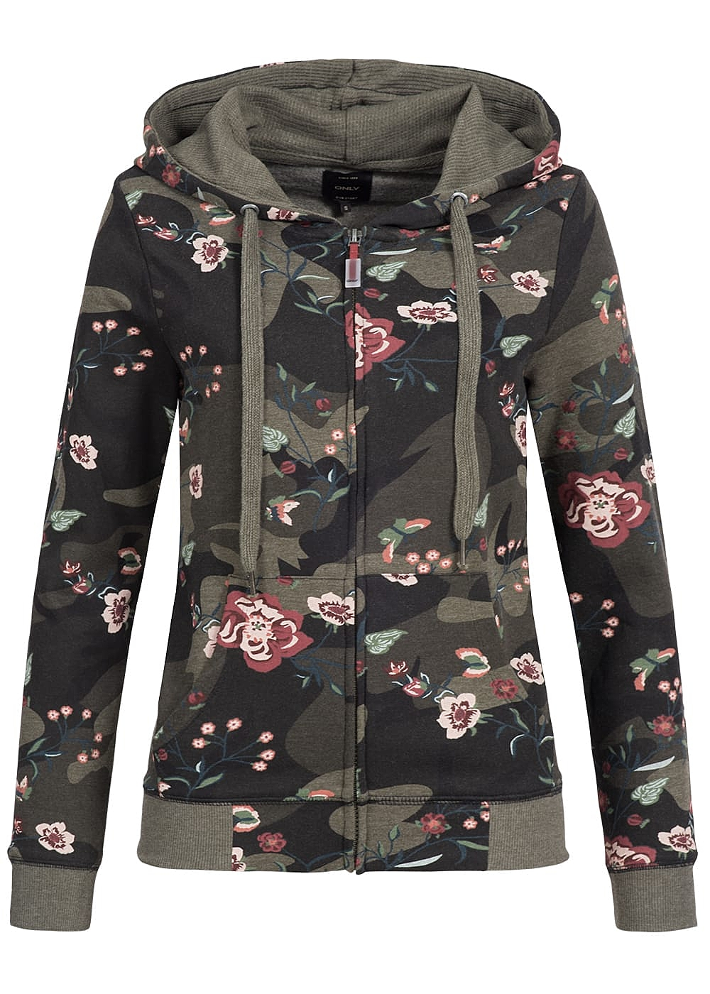 only damen sweat jacke zip hoodie 2 taschen blumen muster. Black Bedroom Furniture Sets. Home Design Ideas