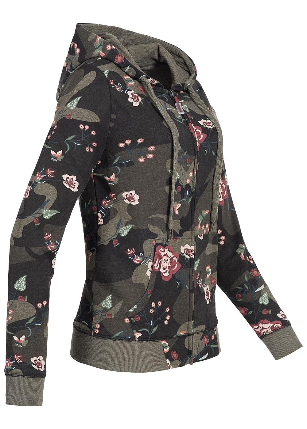 only damen sweat jacke zip hoodie 2 taschen blumen muster. Black Bedroom Furniture Sets. Home Design Ideas