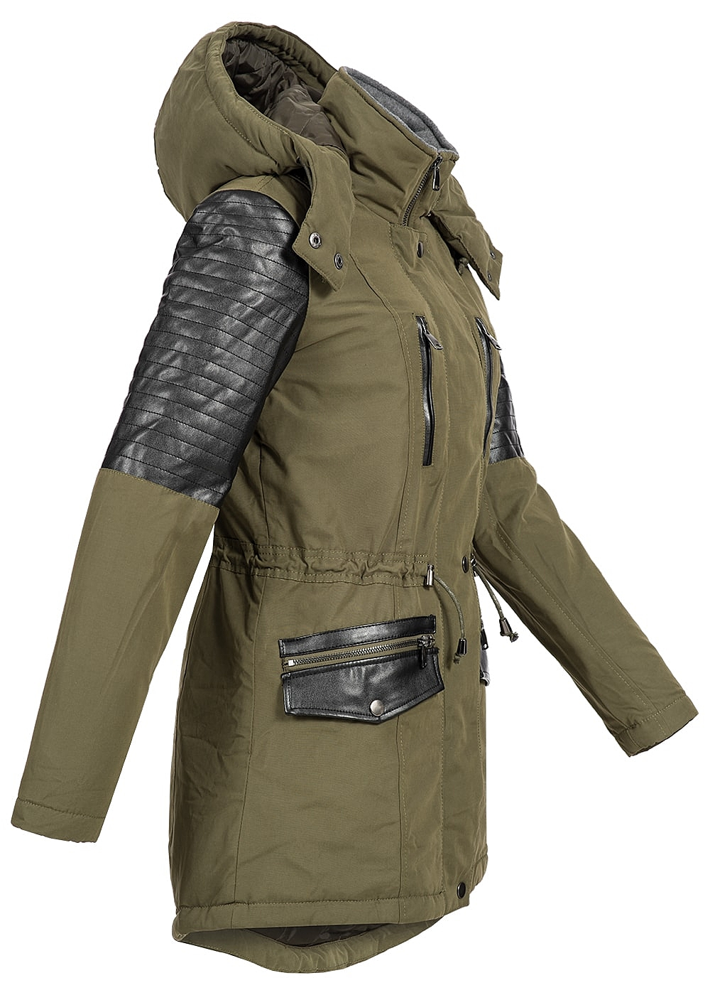Seventyseven Lifestyle Damen Winter Jacke Kunstleder Kapuze olive ... 3bb4017d75c