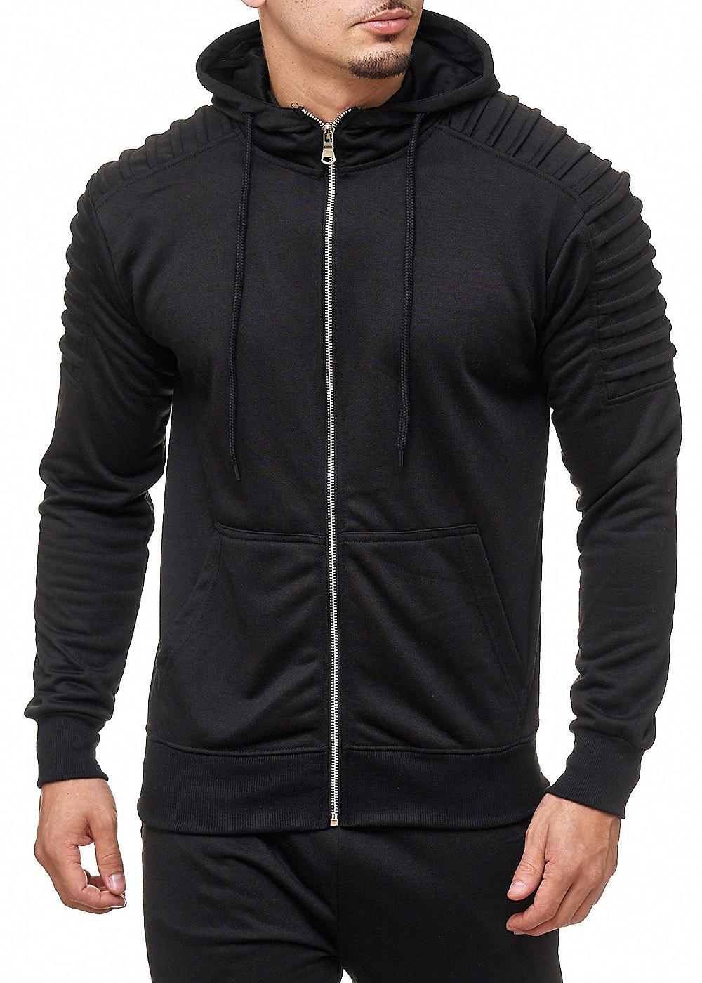 seventyseven lifestyle herren zip hoodie 2 taschen schwarz. Black Bedroom Furniture Sets. Home Design Ideas