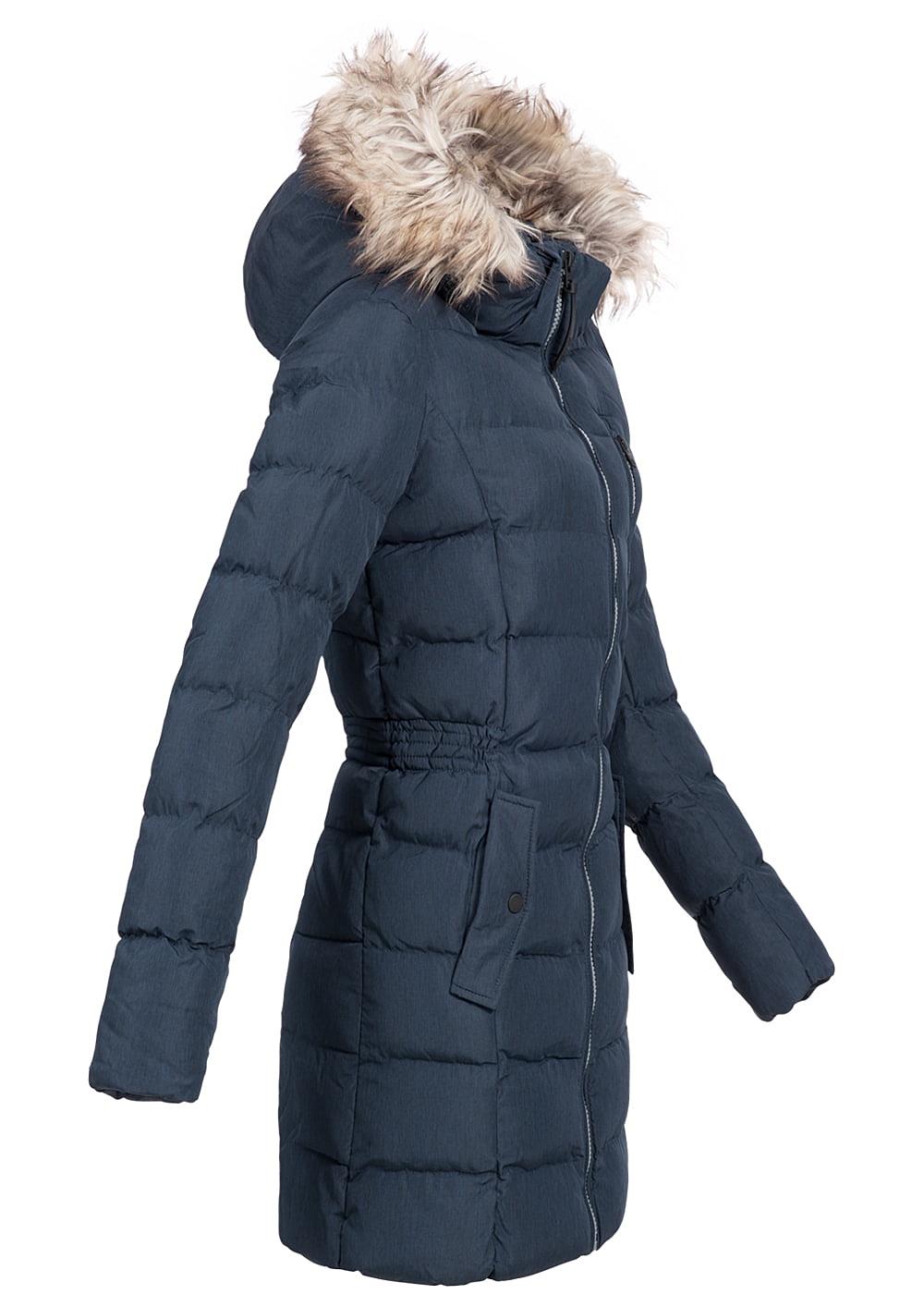 only damen winter mantel kunstfellkapuze 2 deko taschen vorne sky captain blau melange. Black Bedroom Furniture Sets. Home Design Ideas
