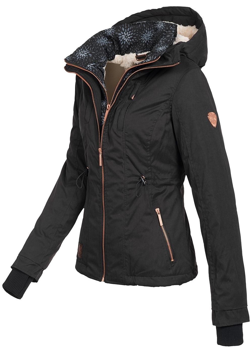 Aiki Damen Winter Jacke Kapuze 2 Zip Taschen vorne ...