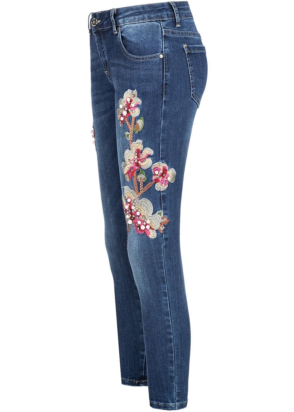 hailys damen 7 8 jeans hose blumen patch perlen strass knitter optik blau denim 77onlineshop. Black Bedroom Furniture Sets. Home Design Ideas