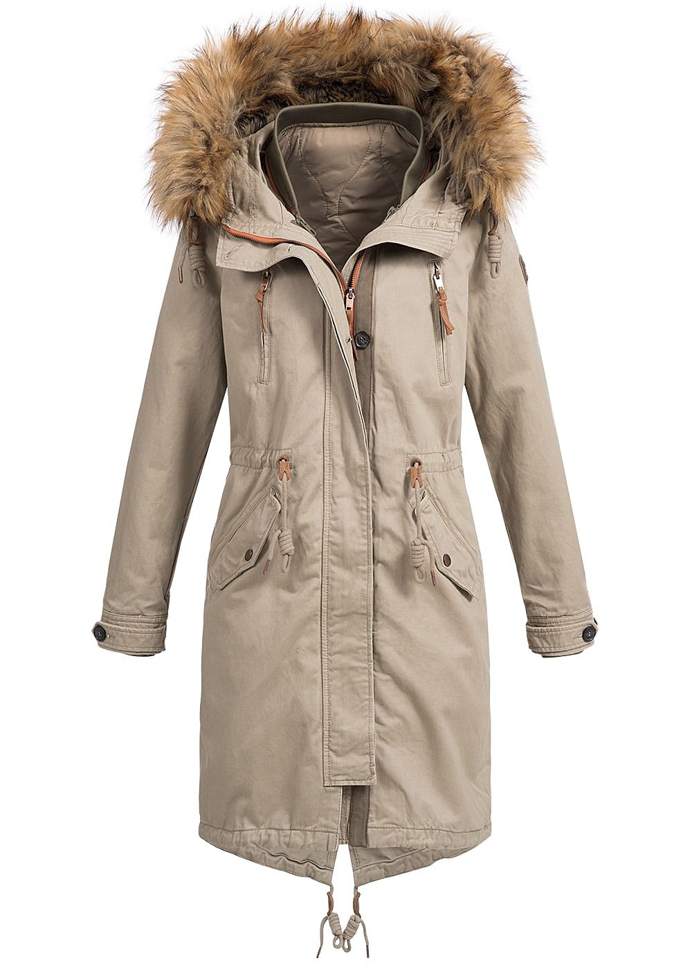 only damen winter mantel kapuze abnehmb kunstfell tunnelzug silver mink beige 77onlineshop. Black Bedroom Furniture Sets. Home Design Ideas