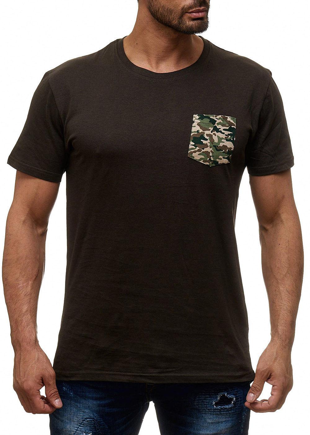 seventyseven lifestyle herren t shirt longform brusttasche khaki gr n camouflage 77onlineshop. Black Bedroom Furniture Sets. Home Design Ideas