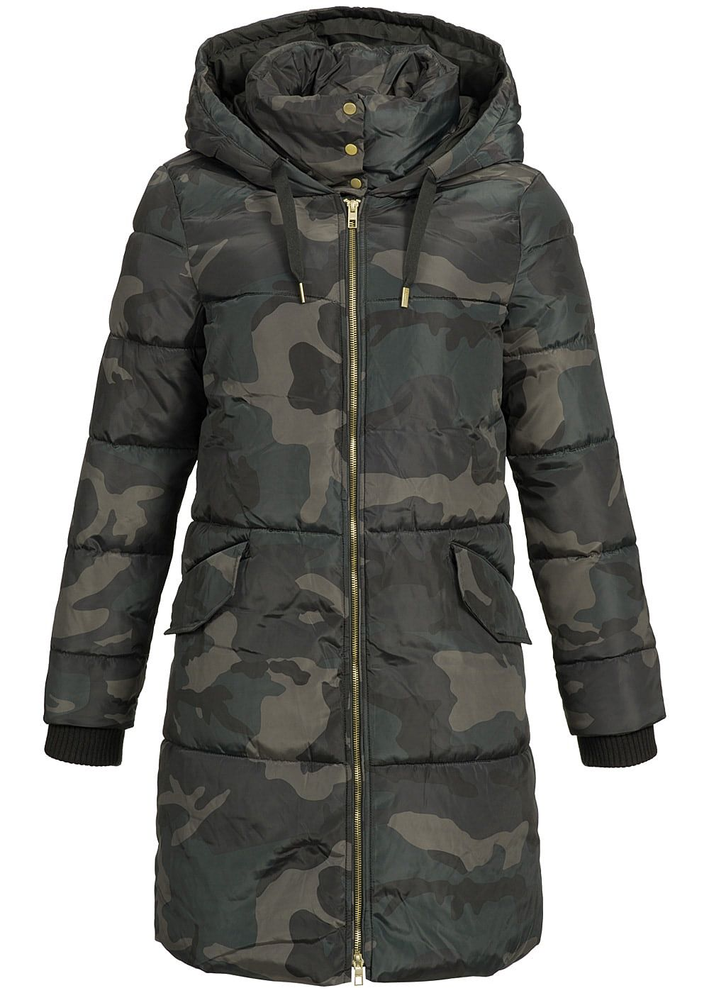 only damen winter mantel kapuze 2 taschen moonless camouflage 77onlineshop. Black Bedroom Furniture Sets. Home Design Ideas