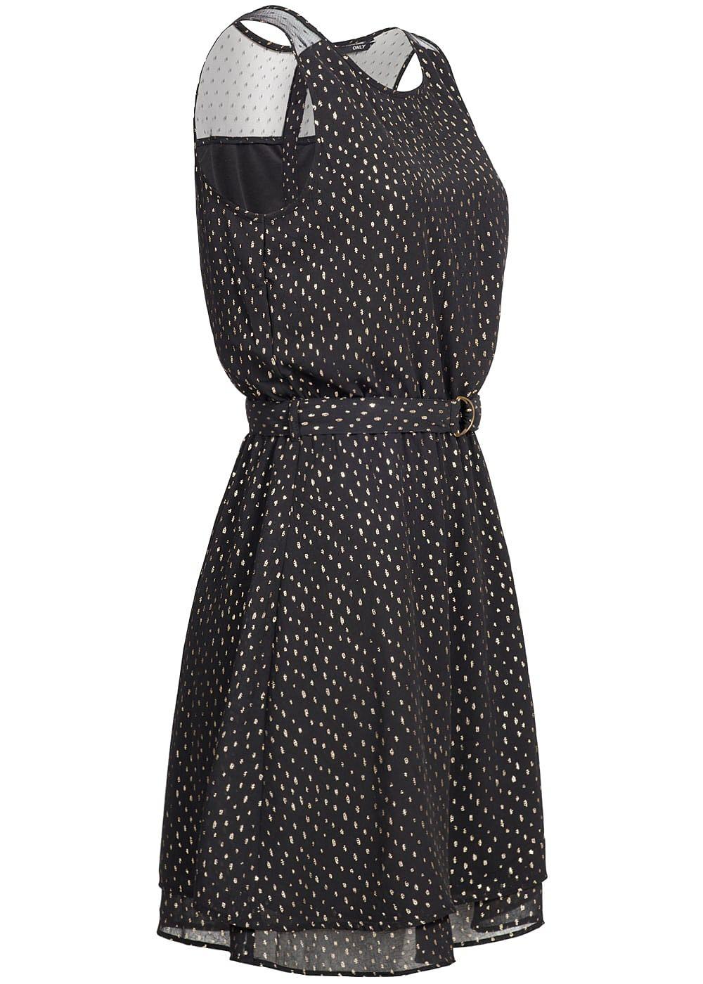ONLY Damen Mini Kleid Passe oben Artwork Print 2-lagig Bindeband ...