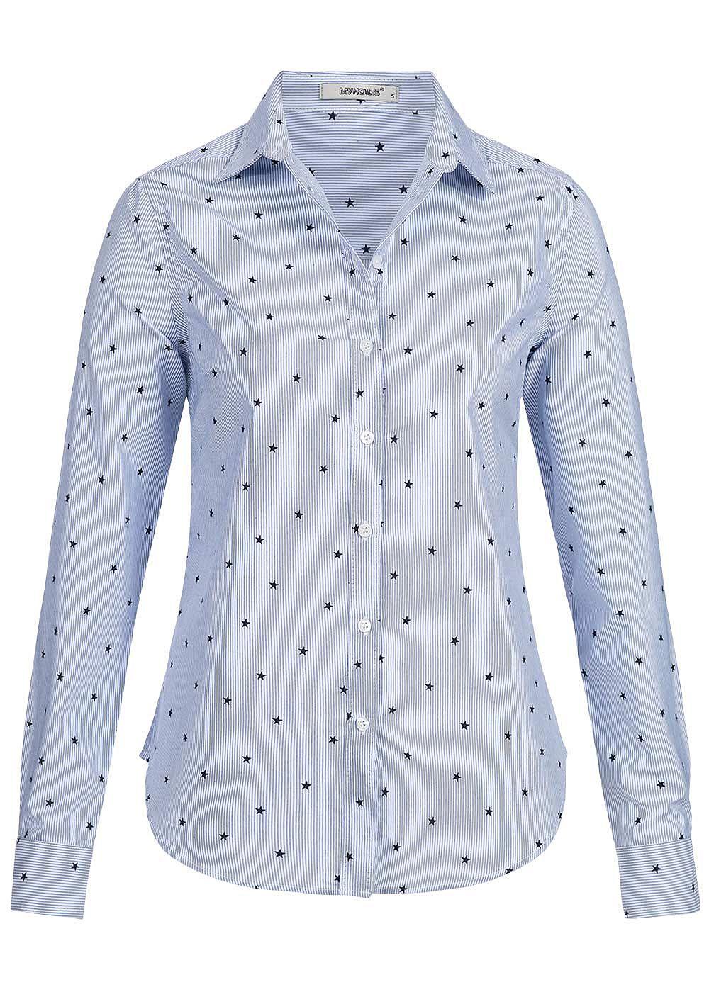 hailys damen bluse sterne muster gestreift blau weiss 77onlineshop. Black Bedroom Furniture Sets. Home Design Ideas