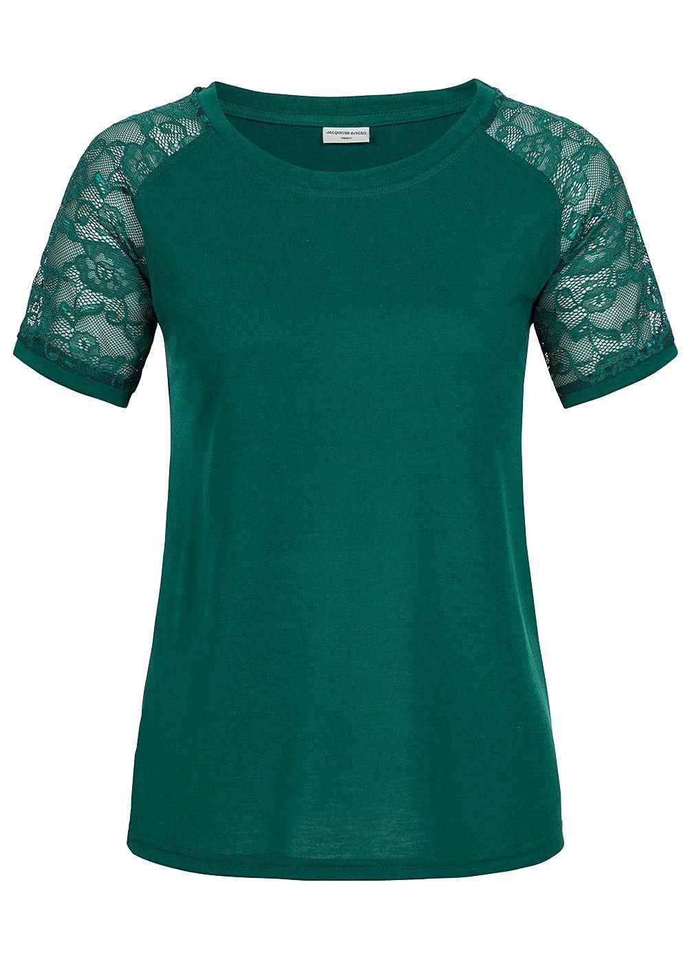 jdy by only damen top t shirt spitze am rmel storm gr n. Black Bedroom Furniture Sets. Home Design Ideas