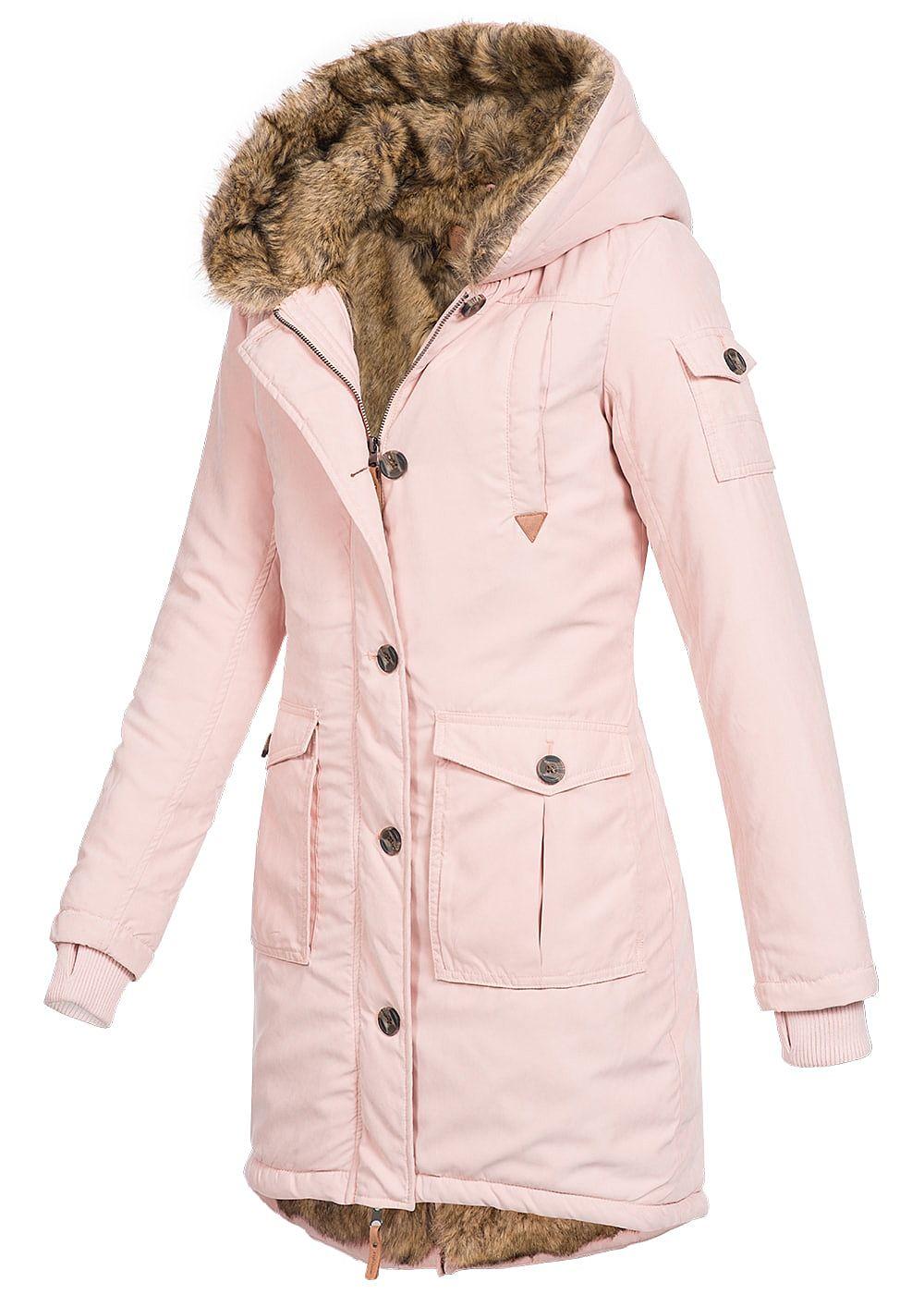 eight2nine damen winter mantel kapuze kunstfellfutter allover innen 4 pockets blush rosa. Black Bedroom Furniture Sets. Home Design Ideas
