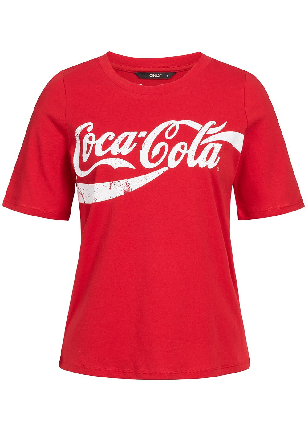 only damen t shirt coca cola print racing rot weiss 77onlineshop. Black Bedroom Furniture Sets. Home Design Ideas