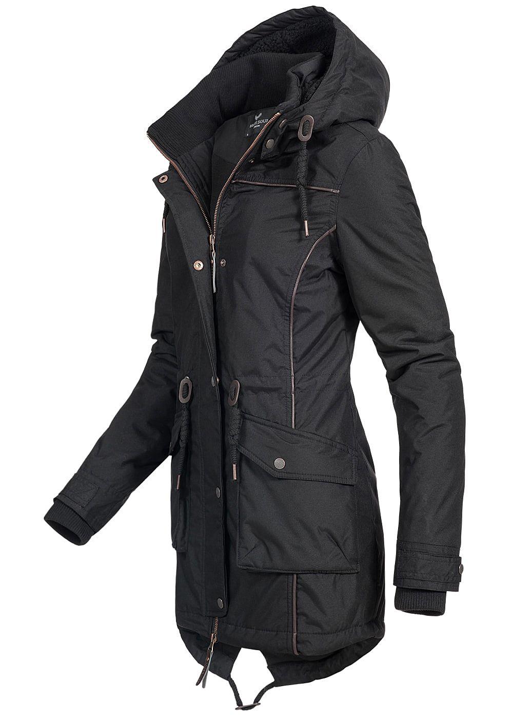 letzte Auswahl Kunden zuerst Verkaufsförderung Seventyseven Lifestyle Damen Winter Parka Kapuze gefüttert 2 Taschen schwarz