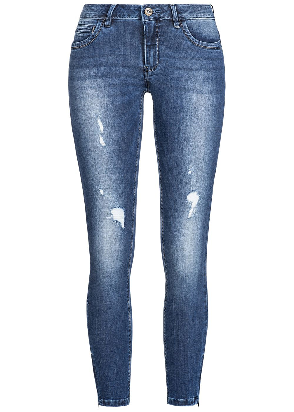 only damen jeans hose crash optik regular waist 5 pockets noos dunkel blau denim 77onlineshop. Black Bedroom Furniture Sets. Home Design Ideas
