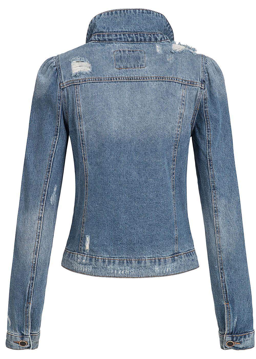 only damen jeans jacke destroy look 2 brusttaschen medium. Black Bedroom Furniture Sets. Home Design Ideas