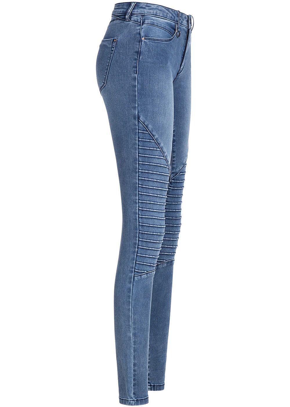 only damen biker jeans hose stretch 4 pockets regular waist medium blau denim 77onlineshop. Black Bedroom Furniture Sets. Home Design Ideas