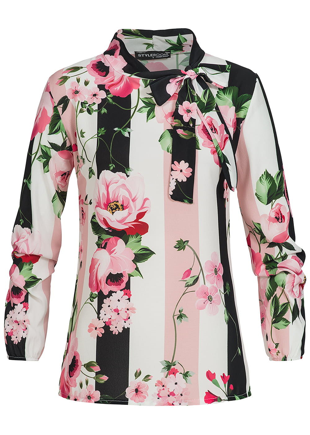 styleboom fashion damen bluse schleife vorne blumen muster rosa weiss schwarz 77onlineshop. Black Bedroom Furniture Sets. Home Design Ideas