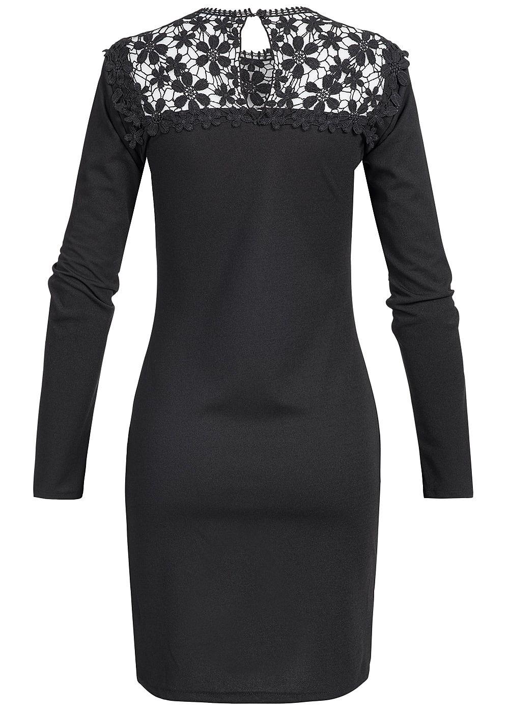 Styleboom Fashion Damen Mini Kleid Langarm Spitze schwarz - 77onlineshop