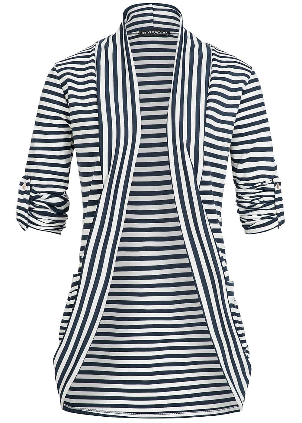 styleboom fashion damen turn up cardigan gestreift navy blau weiss 77onlineshop. Black Bedroom Furniture Sets. Home Design Ideas