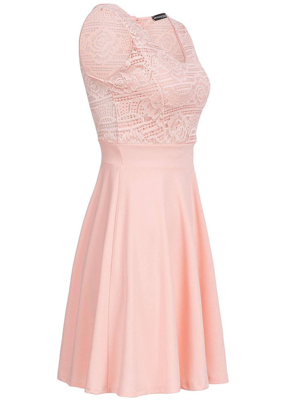Styleboom Fashion Damen Mini Kleid Spitze oben Brustpads rosa ...