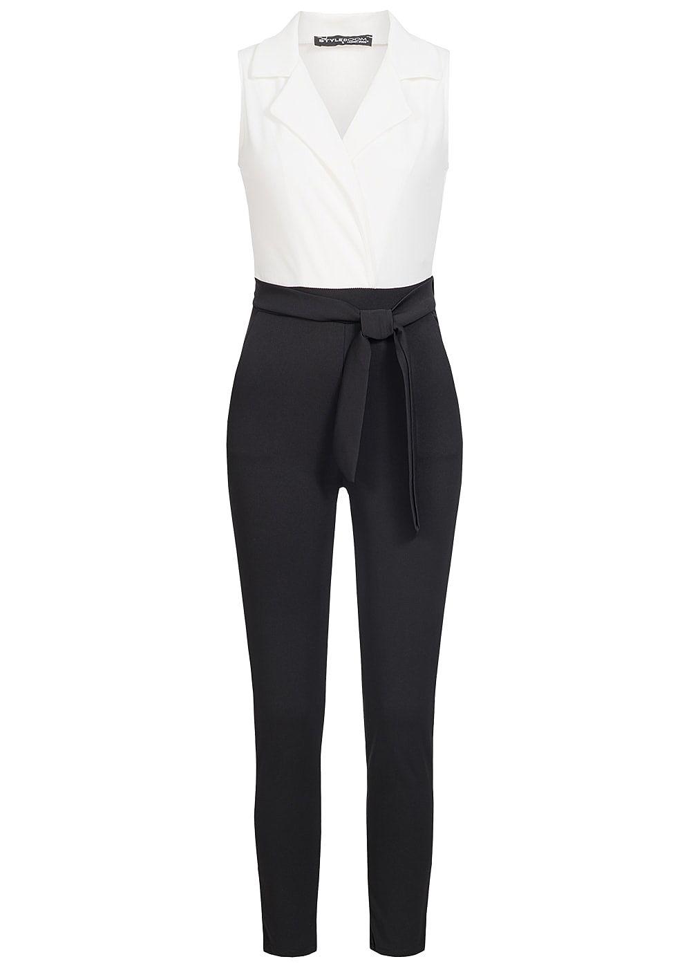 styleboom fashion damen 2 tone jumpsuit wickeloptik g rtel. Black Bedroom Furniture Sets. Home Design Ideas