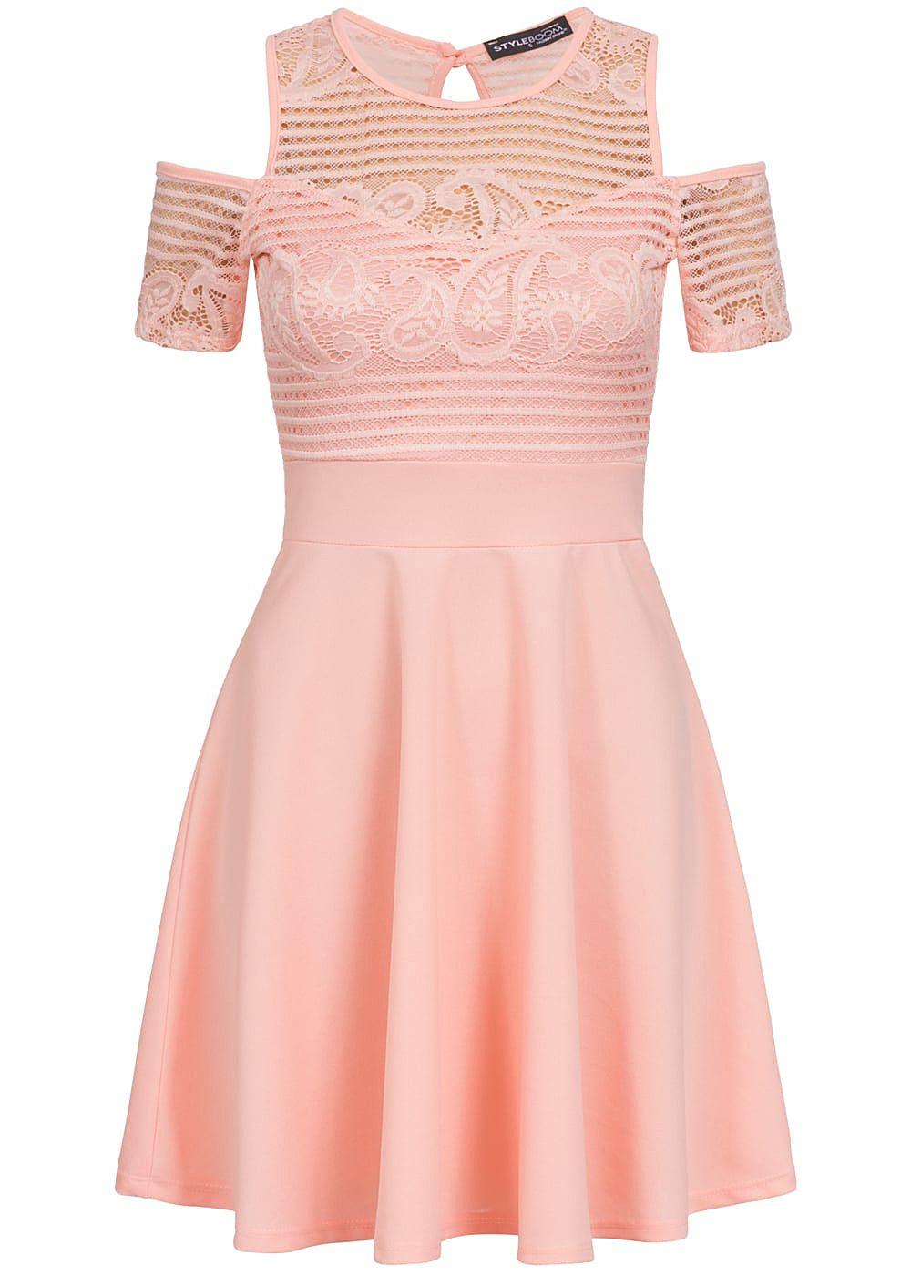 Styleboom Fashion Damen Kleid Off Shoulder Spitze oben