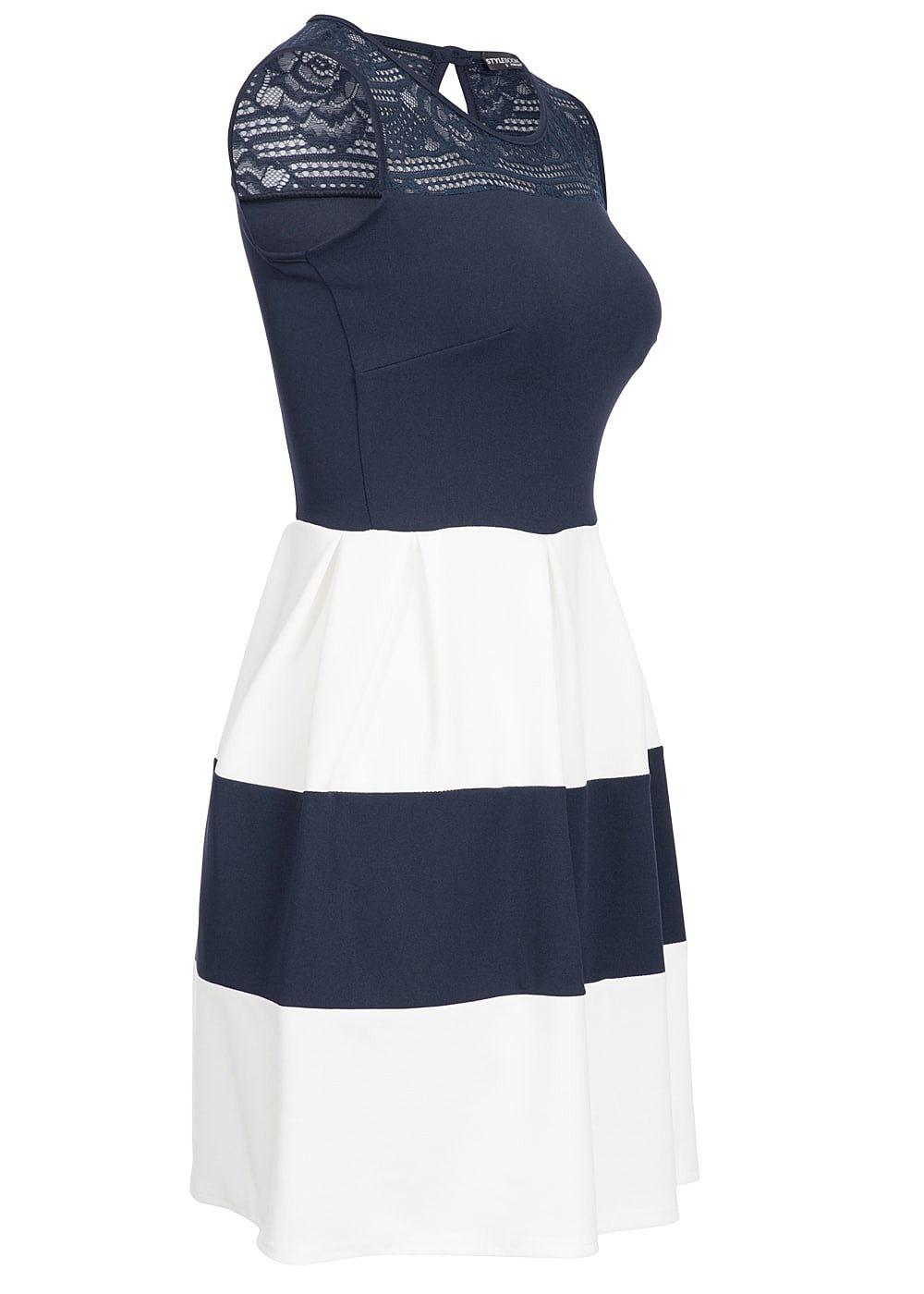 Kleid blau weib gestreift mit spitze