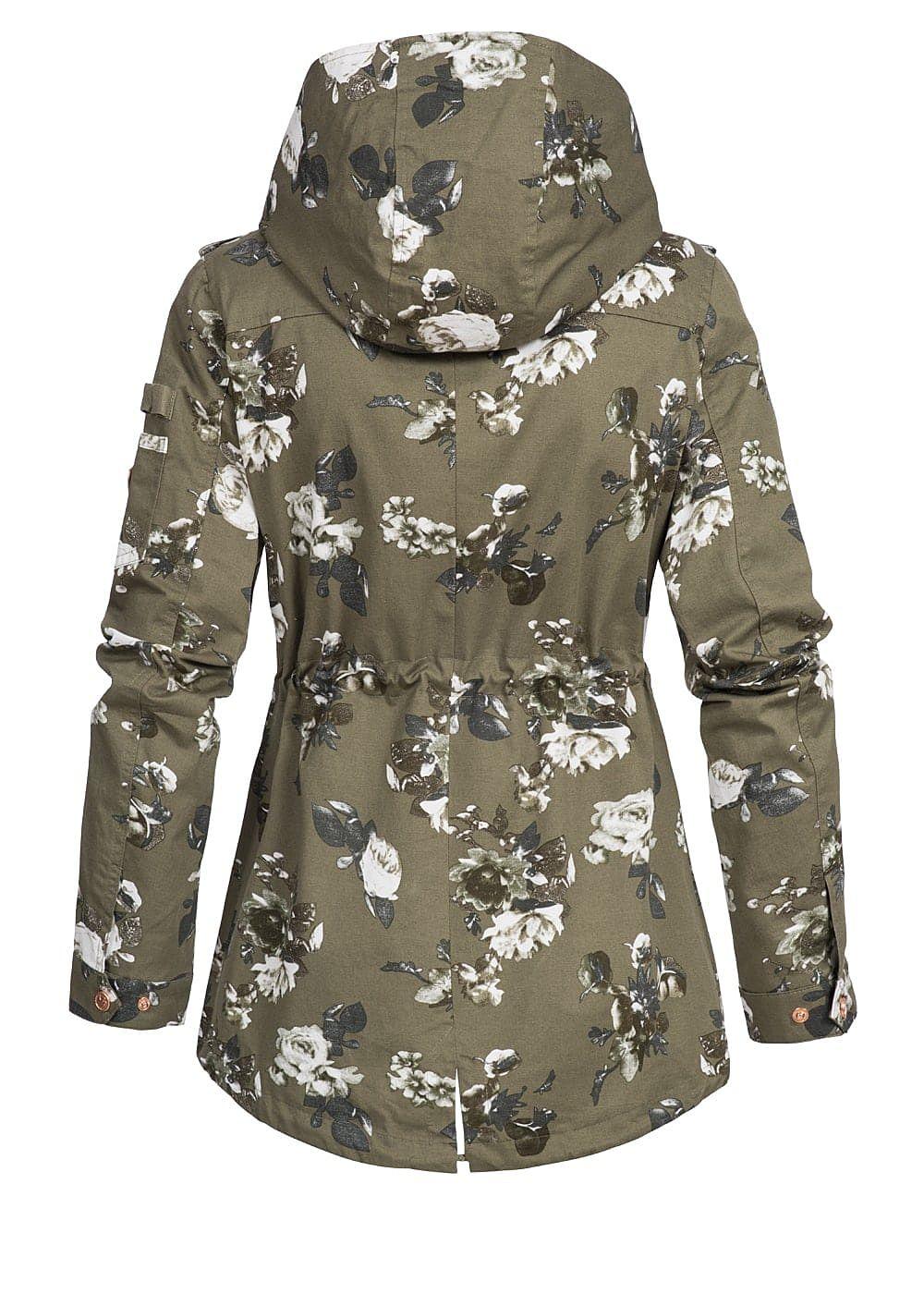 Aiki Damen Übergangs Parka Kapuze Blumen Muster 2 Taschen Taillenzug ... 31012521520