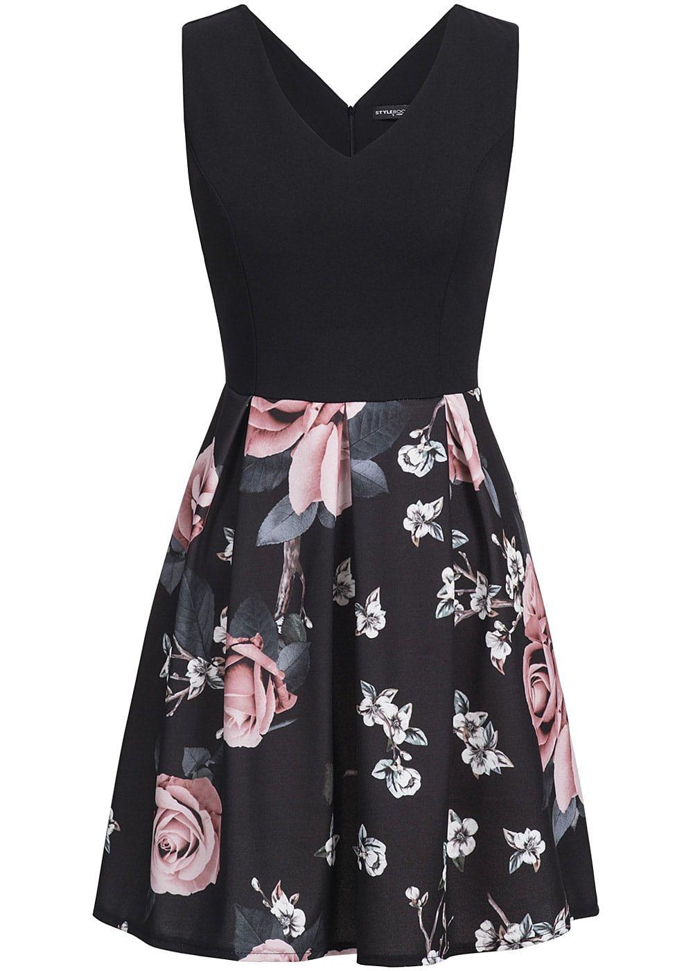Styleboom Fashion Damen Mini Kleid Blumen Muster Brustpads schwarz ...
