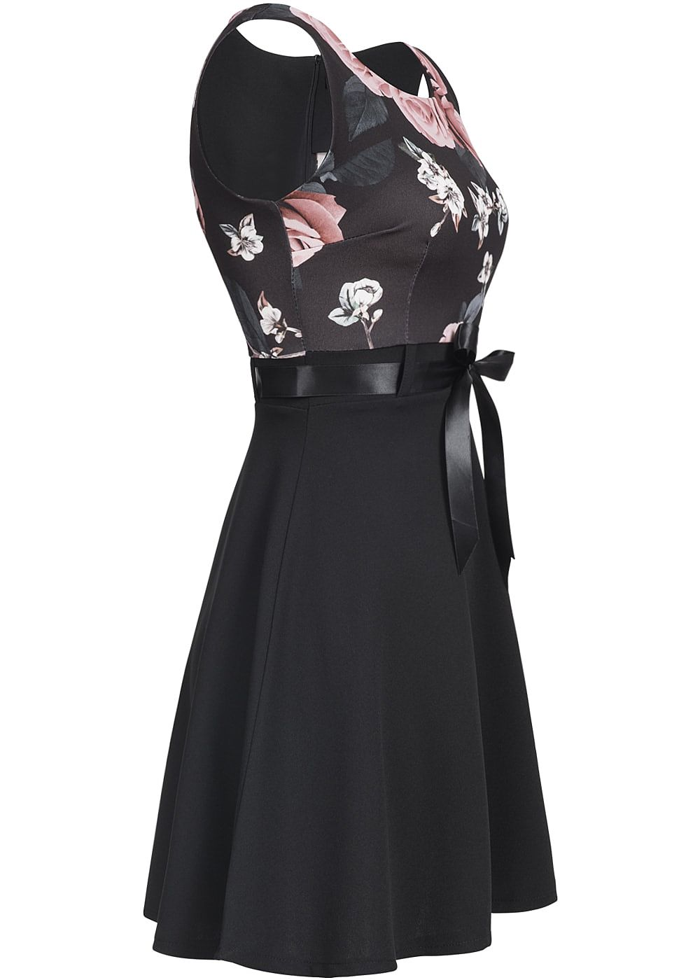 Styleboom Fashion Damen Mini Kleid Blumen Print Bindeband Rundhals ...