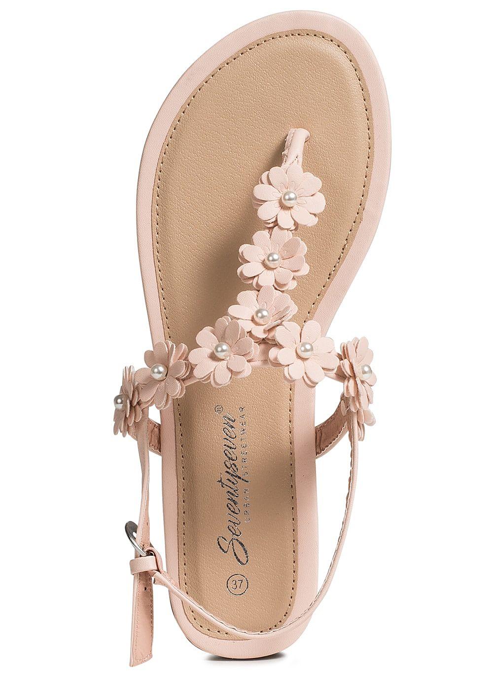 Seventyseven Lifestyle Damen Flower Toe Post Sandals rosa