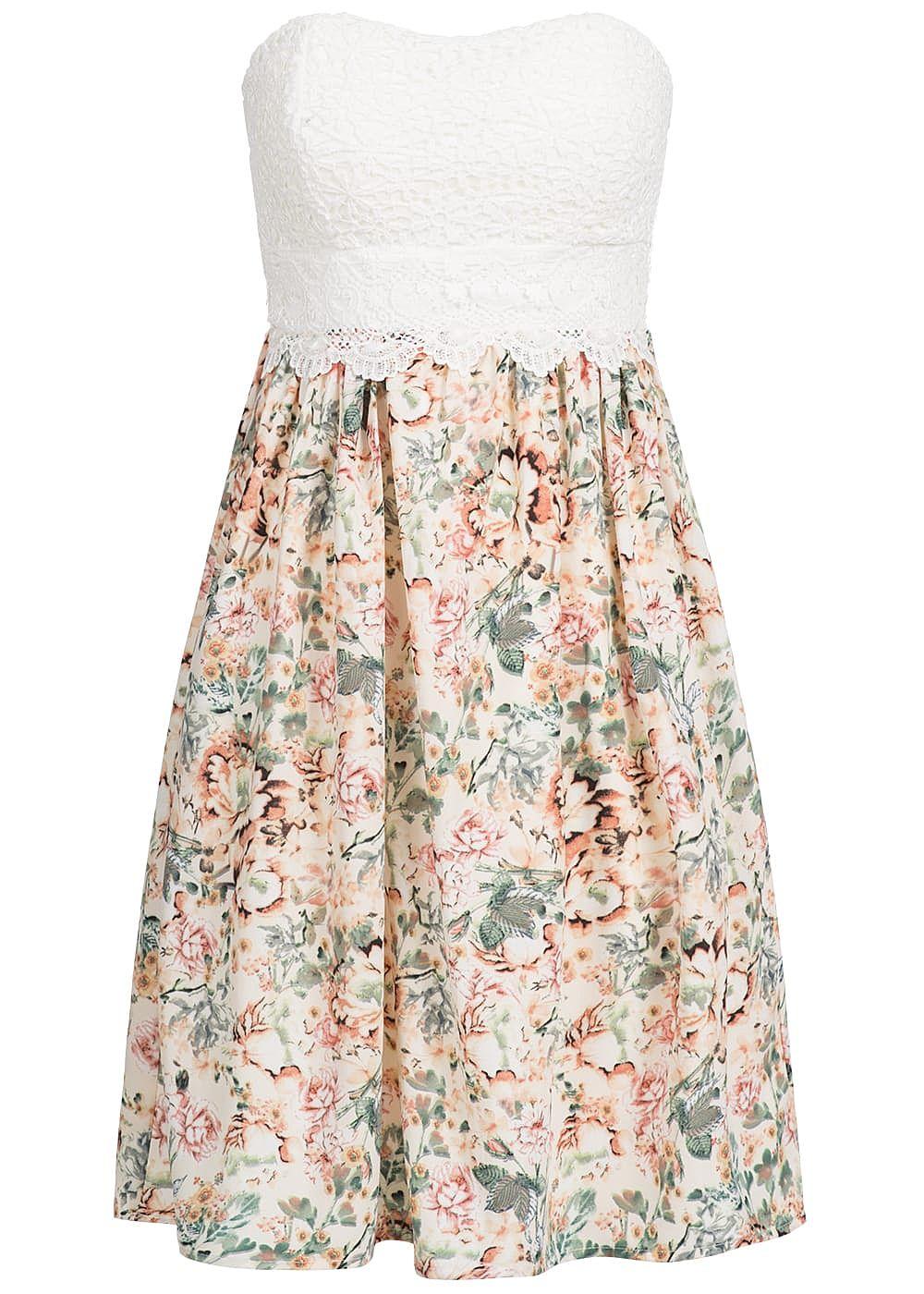 Seventyseven Lifestyle Damen Bandeau Kleid Häkeloptik Blumen