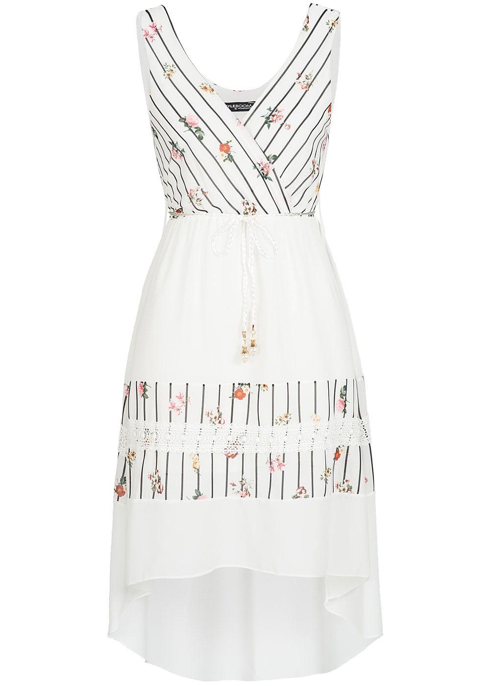 Styleboom Fashion Damen Kleid Streifen & Blumen Muster 17-lagig