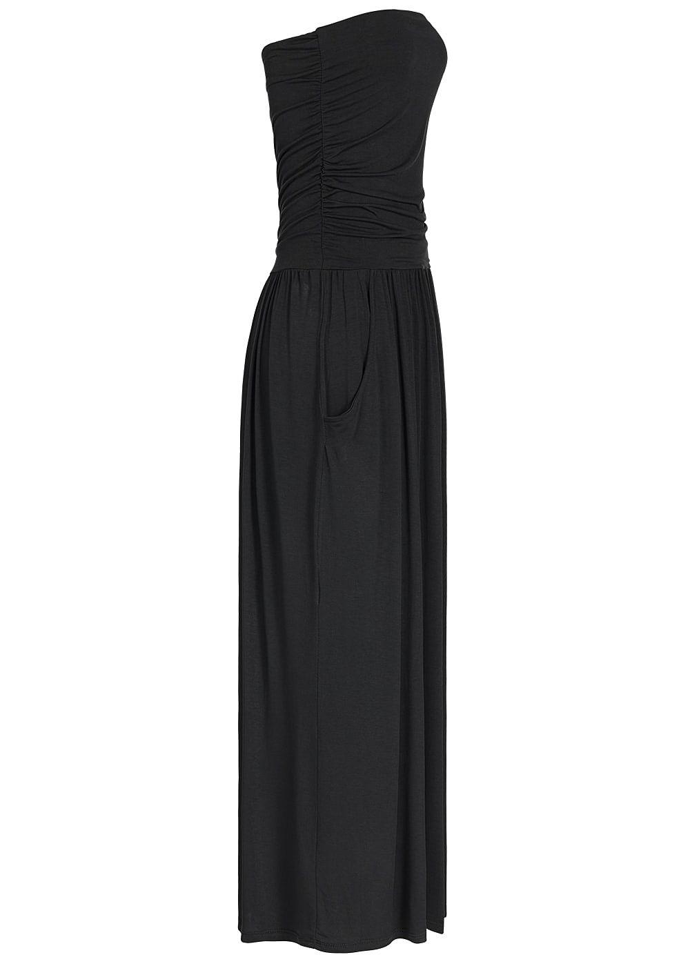 Styleboom Fashion Bandeau Longform Kleid 2 Taschen vorne Knöchellang ...