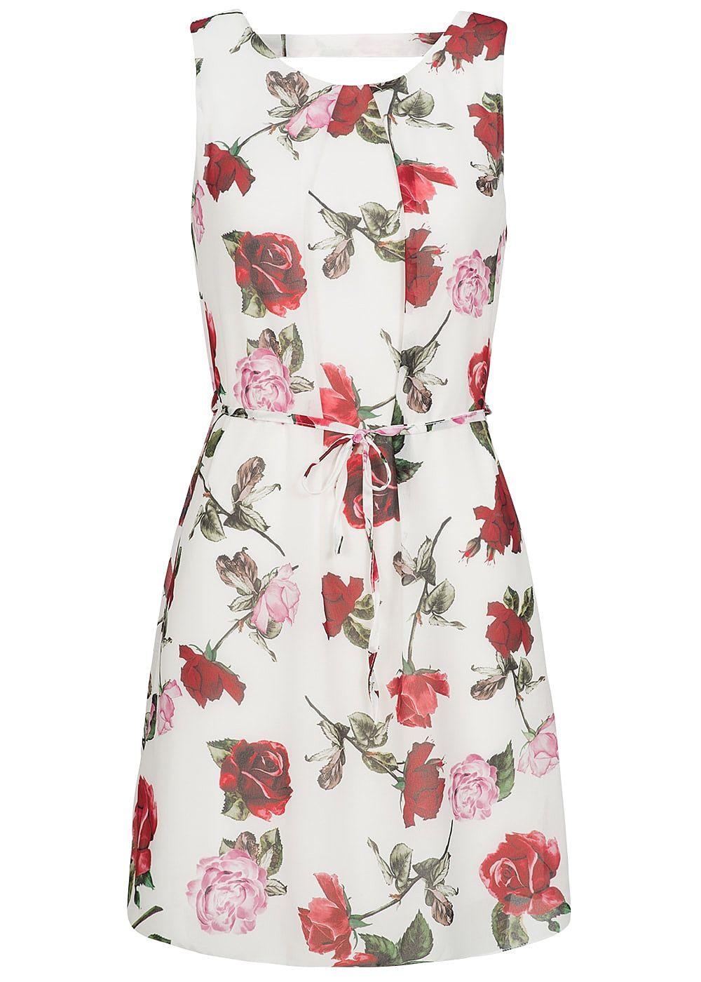 Styleboom Fashion Damen Chiffon Kleid 2-lagig Blumen ...