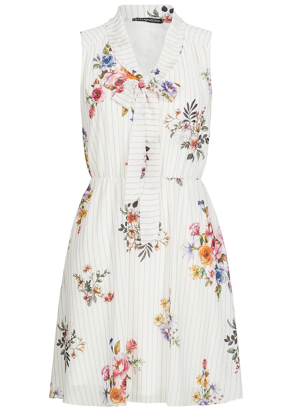 Styleboom Fashion Damen Chiffon Kleid 19-lagig Blumen & Streifen