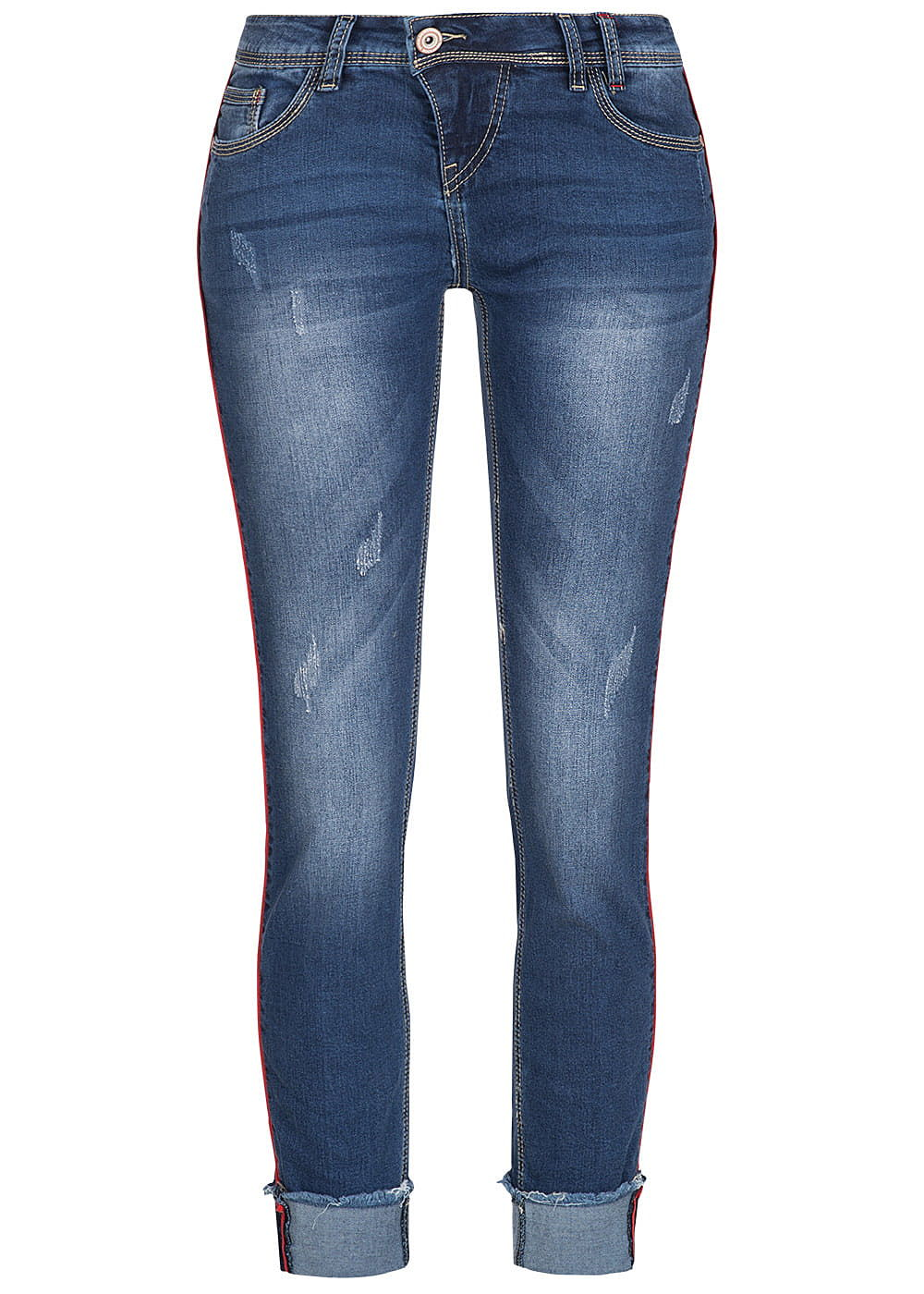 d2fad4d88ef2 Eight2Nine Damen Jeans Hose Crash Optik 5-Pockets by Rock Angel medium blau  denim