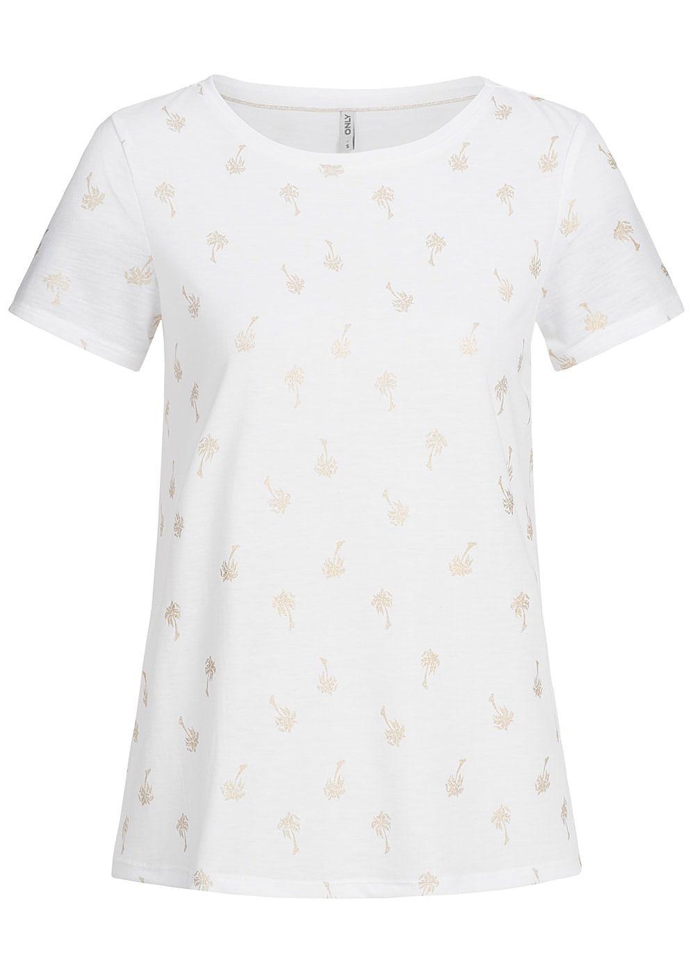 9fff08b988841 ONLY Damen T-Shirt Palmen Muster cloud dancer weiss gold - 77onlineshop